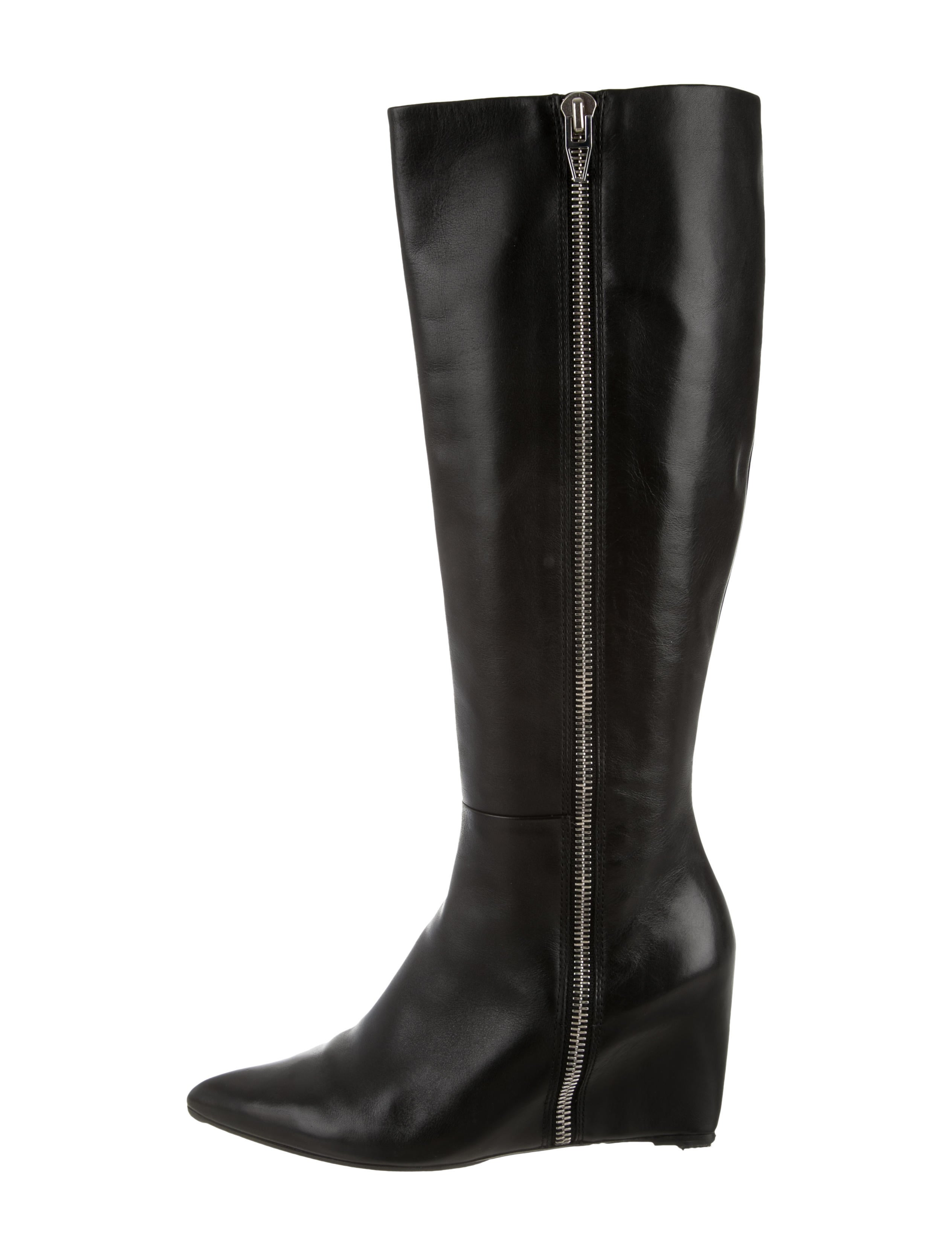 wang leather knee high wedge boots shoes