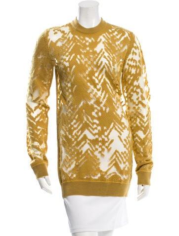 Alexander Wang Sheer-Accented Rib Knit Sweater None