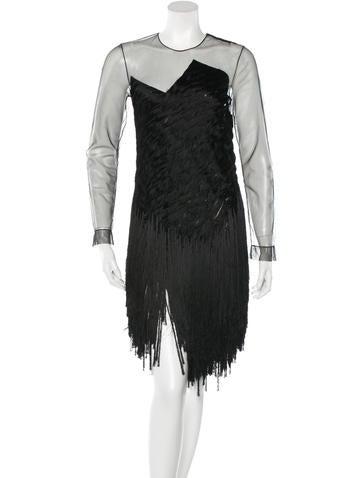 Alexander Wang Fringe Long Sleeve Dress None