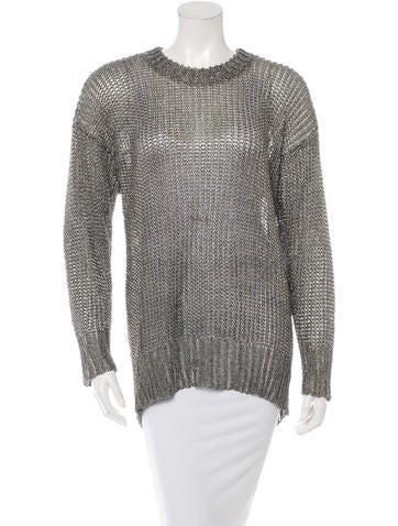 Alexander Wang Long Sleeve Metallic Sweater None
