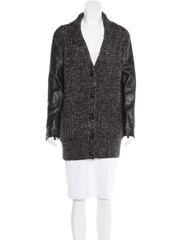Alexander Wang Leather-Trimmed Oversize Cardigan None