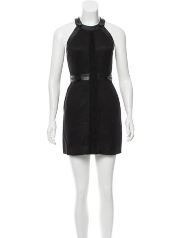 Alexander Wang Leather-Trimmed Bodycon Dress None