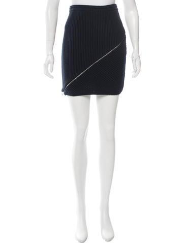 Alexander Wang Zip-Trimmed Knit Skirt w/ Tags None
