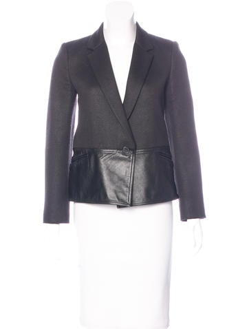 Alexander Wang Leather-Paneled Long Sleeve Blazer None