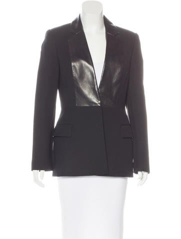 Alexander Wang Leather-Trimmed Woven Blazer None