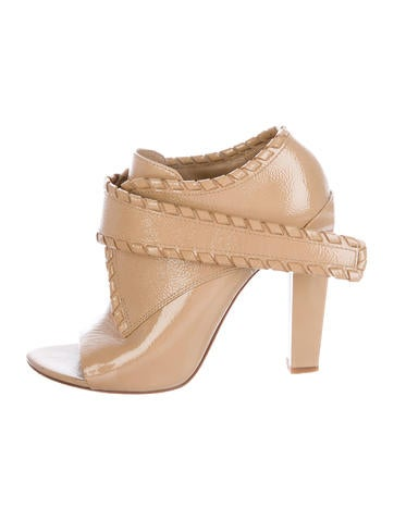 Alexander Wang Patent Leather Peep-Toe Booties None