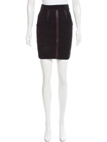 Alexander Wang Knit Panel Leather Skirt None
