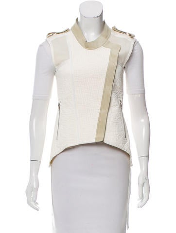 Alexander Wang Leather-Trimmed Textured Vest None