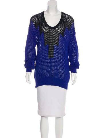 Alexander Wang Colorblock Open-Knit Sweater None