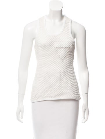 Alexander Wang Open Knit Leather-Trimmed Top None