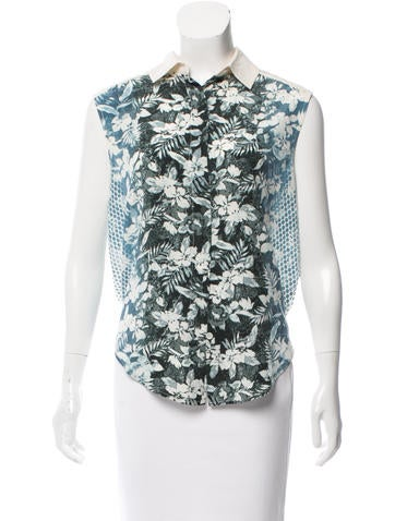 T by Alexander Wang Floral Print Silk Top None