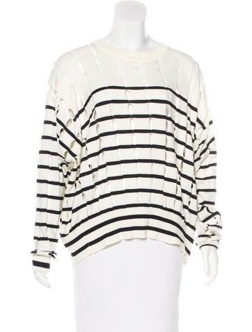 Alexander Wang Striped Cutout Sweater None