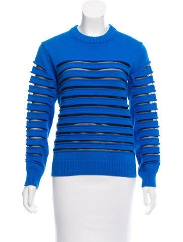 Alexander Wang Mesh-Tiered Crew Neck Sweater None
