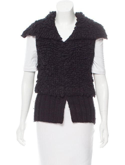 Alexander Wang Wool-Blend Sleeveless Cardigan Blac