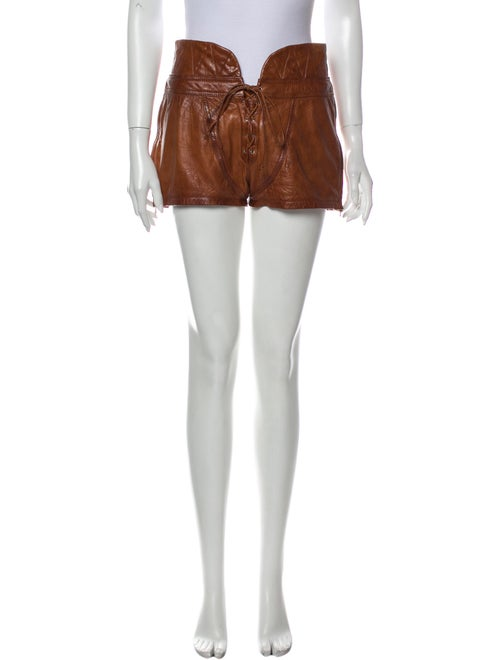 Alexander Wang Leather Mini Shorts Brown