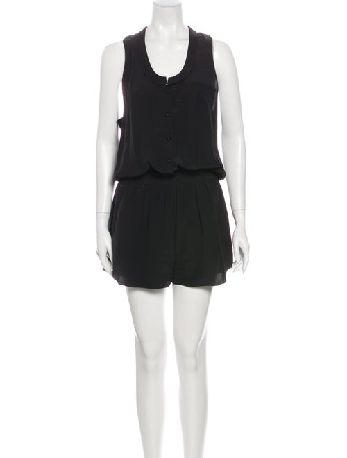Alexander Wang Silk Scoop Neck Romper Black