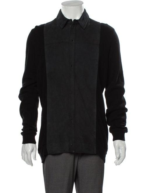 Alexander Wang Lamb Leather Collar Cardigan Black