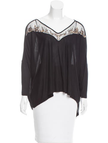 Amen. Embellished Mesh-Trimmed Top w/ Tags None