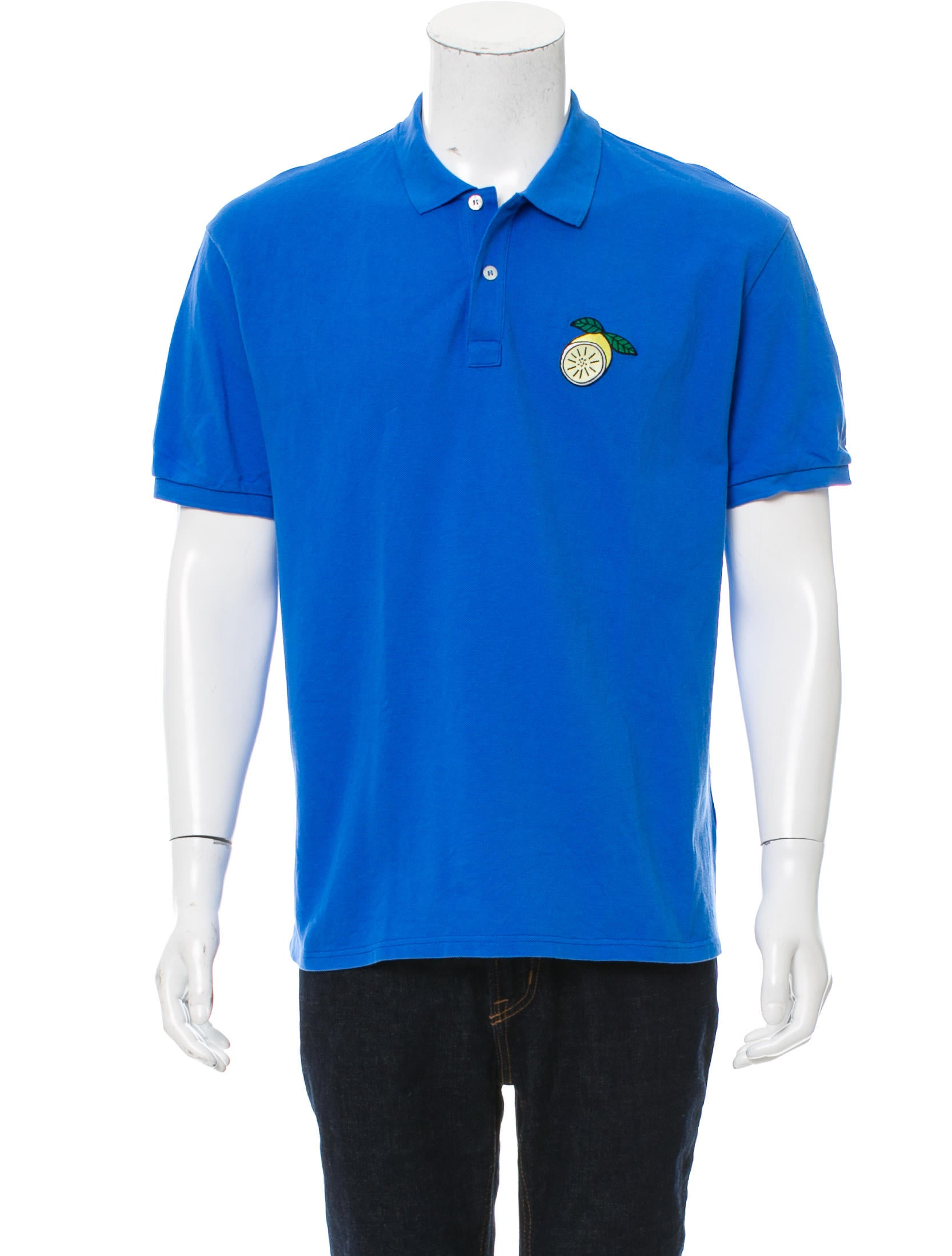 Ami alexandre mattiussi lemon embroidered polo shirt for Polo shirts with embroidery