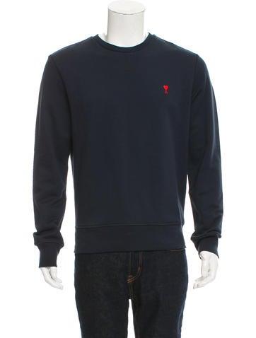 AMI Alexandre Mattiussi Heart-Embroidered Crew Neck Sweatshirt w/ Tags None