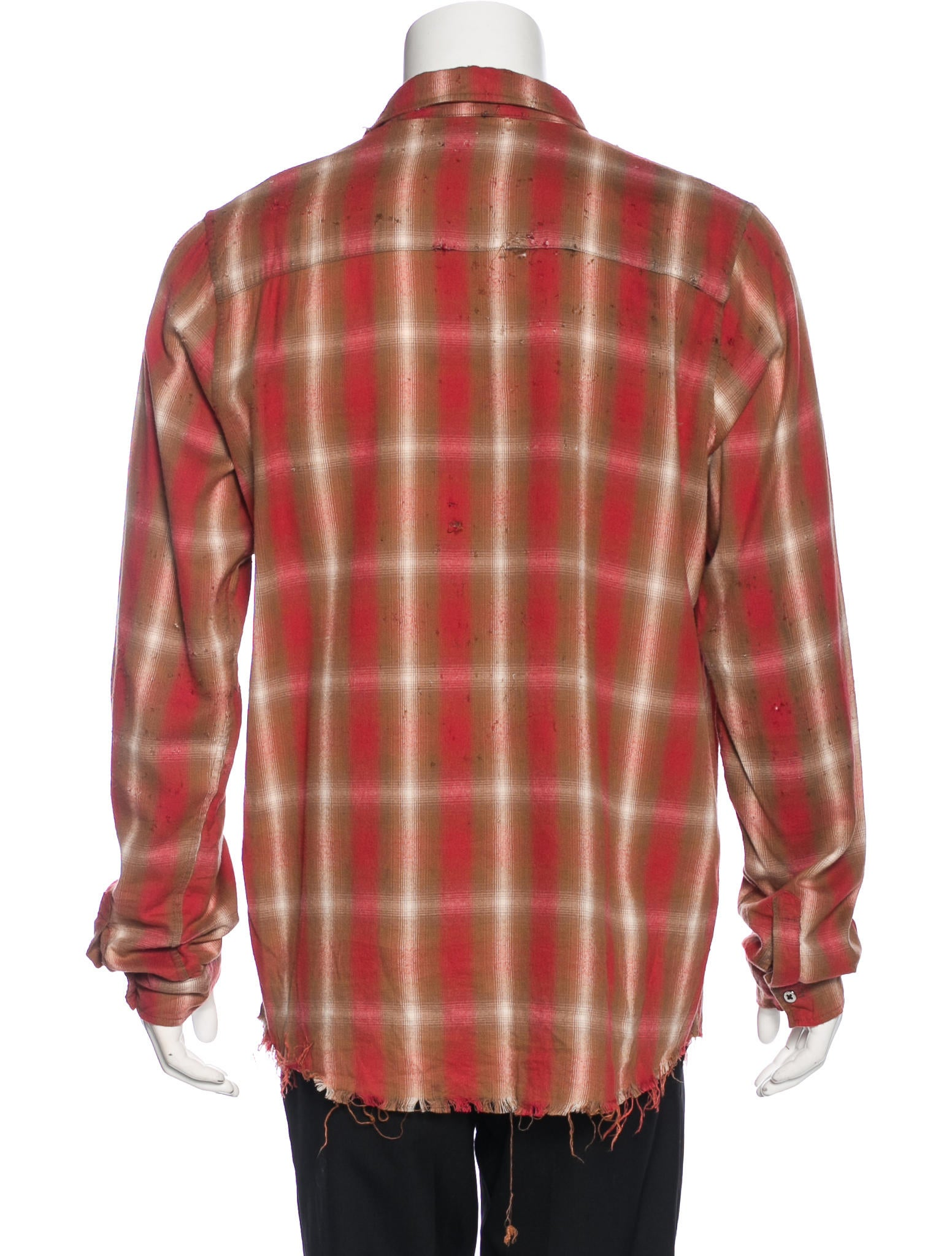 Amiri plaid shotgun distressed shirt clothing for How to make a distressed shirt