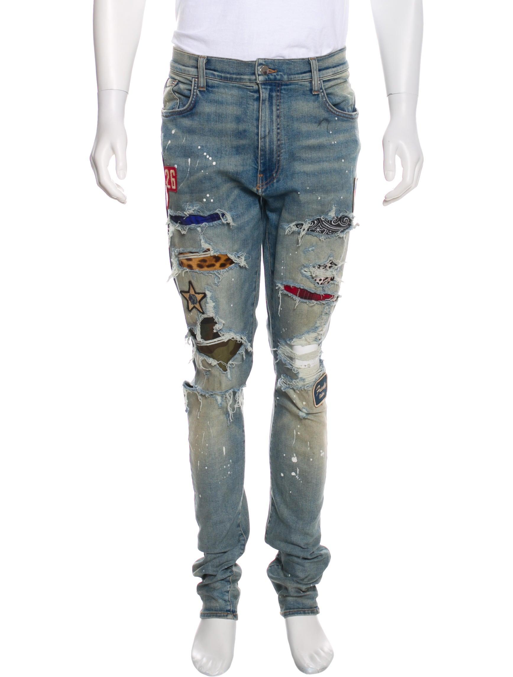 a385a9a4213 Amiri Distressed Patchwork Skinny Jeans - Clothing - AMIRI21083 ...