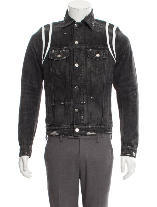 Amiri Varsity Denim Trucker Jacket w/ Tags black