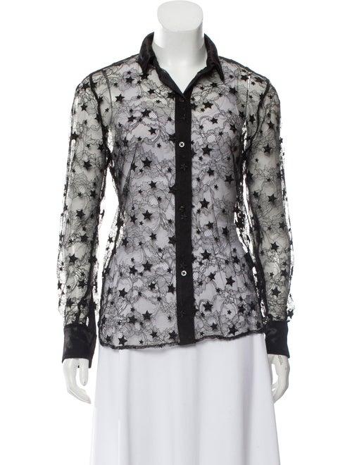 Amiri Semi-Sheer Lace Top Black
