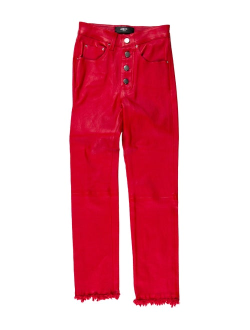 Amiri Mid-Rise Leather Pants Red