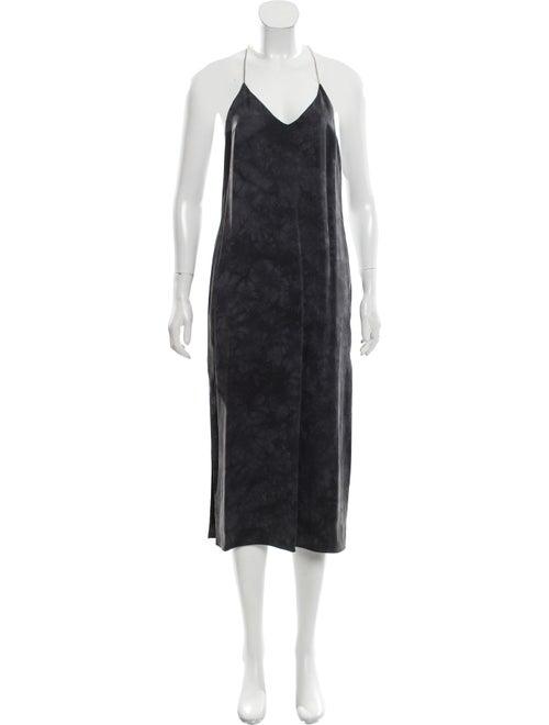 Amiri Silk Tie-Dye Print Dress Grey