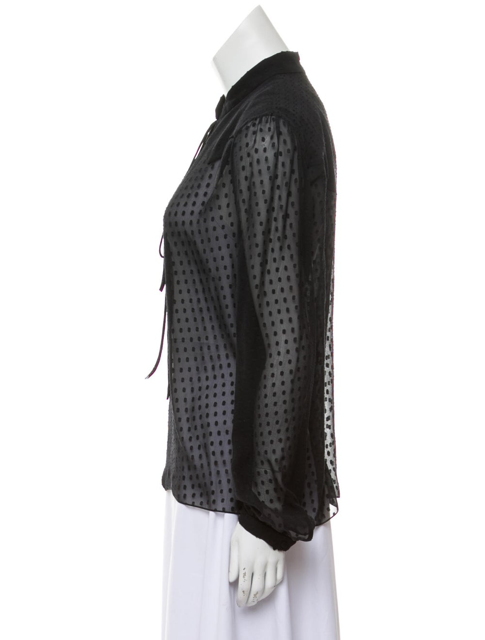 Amiri Silk Long Sleeve Blouse Black - image 2
