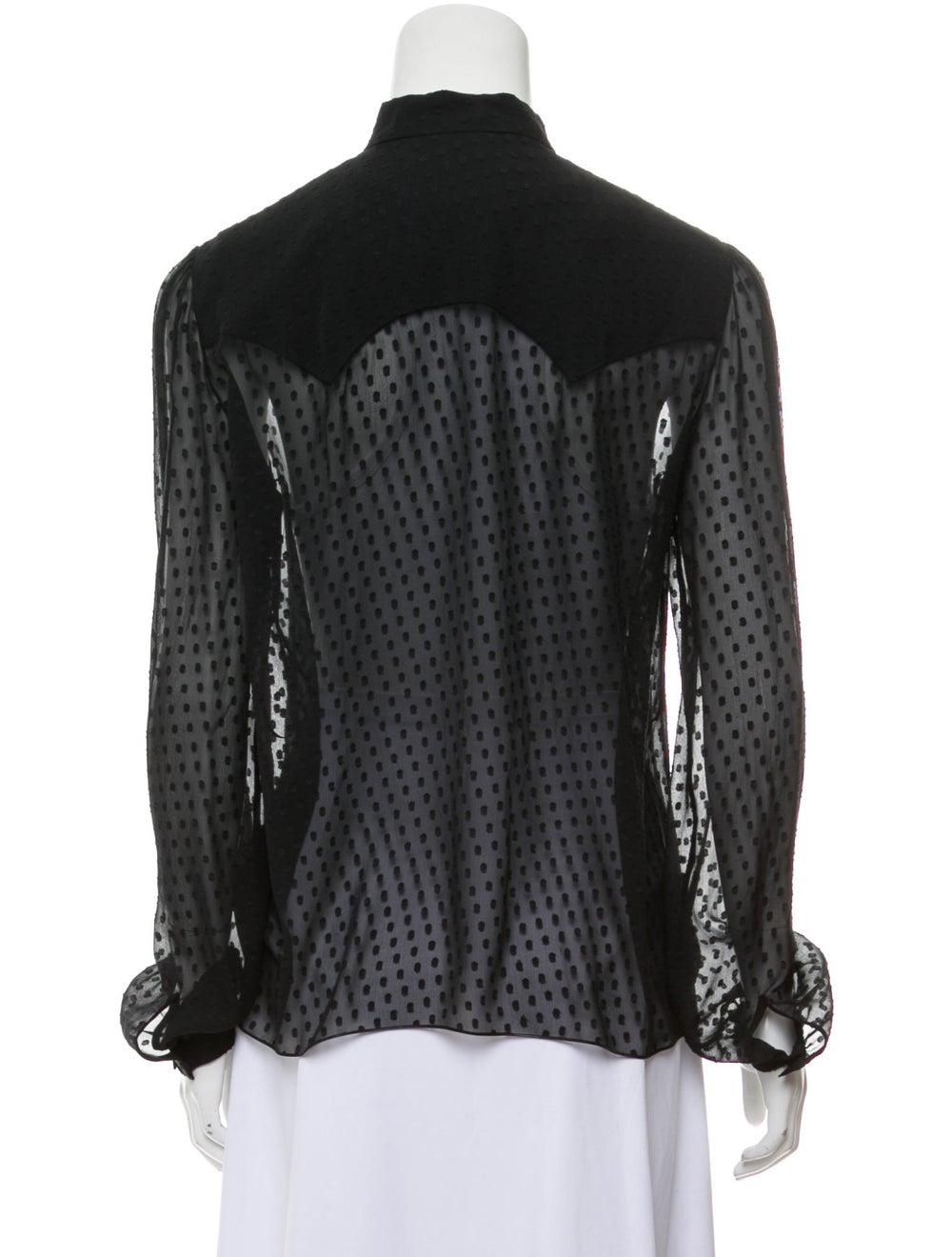 Amiri Silk Long Sleeve Blouse Black - image 3