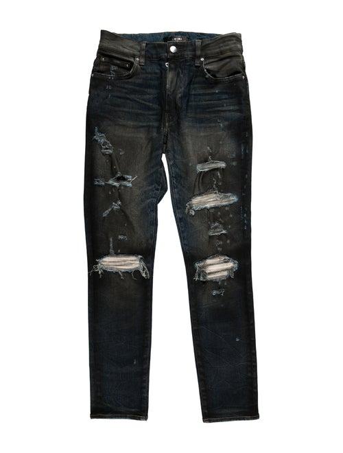 Amiri Distressed Skinny Jeans blue