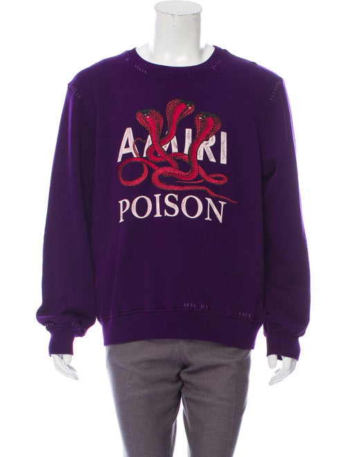 Amiri Distressed Embroidered Sweater violet
