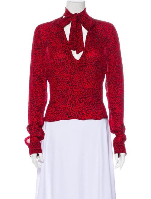 Amiri Silk Animal Print Blouse Red