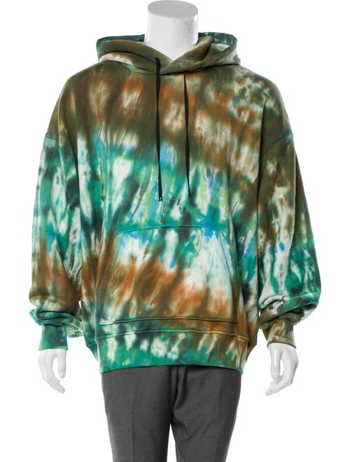 Amiri Tie-Dye Print V-Neck Hoodie w/ Tags Green