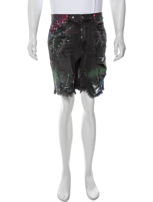 Amiri Printed Denim Shorts Denim