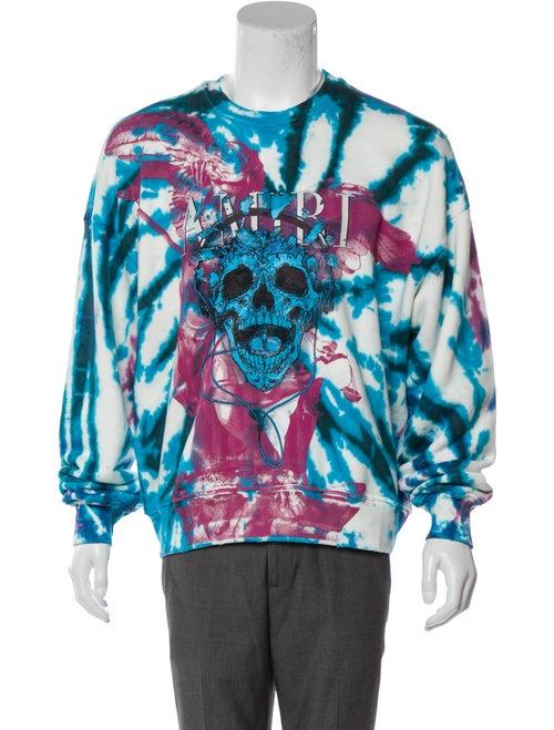 Amiri Tie Dye Skull Crewneck Sweater purple