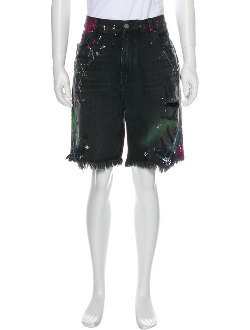 Amiri Paint Splatter Denim Shorts Denim
