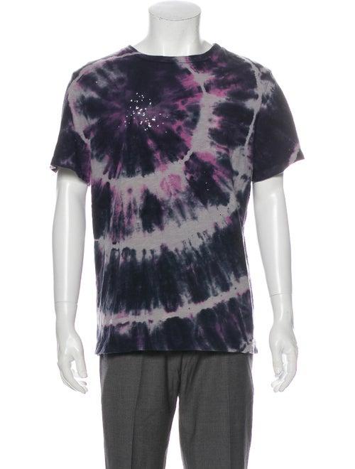 Amiri Tie-Dye Print Crew Neck T-Shirt Purple
