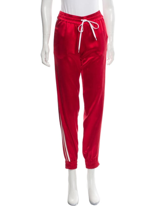 Amiri Leather-Trimmed Silk Track Pants w/ Tags Red