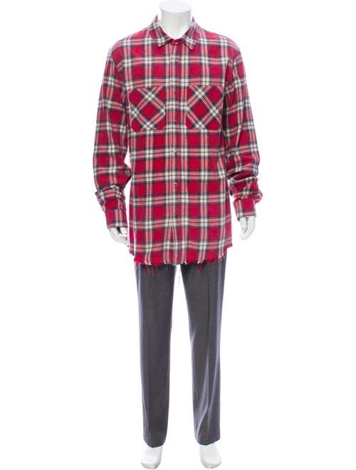 Amiri Plaid Print Long Sleeve Shirt Red