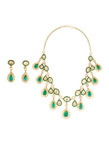 Amrapali 18K Emerald and Diamond Necklace and Drop...