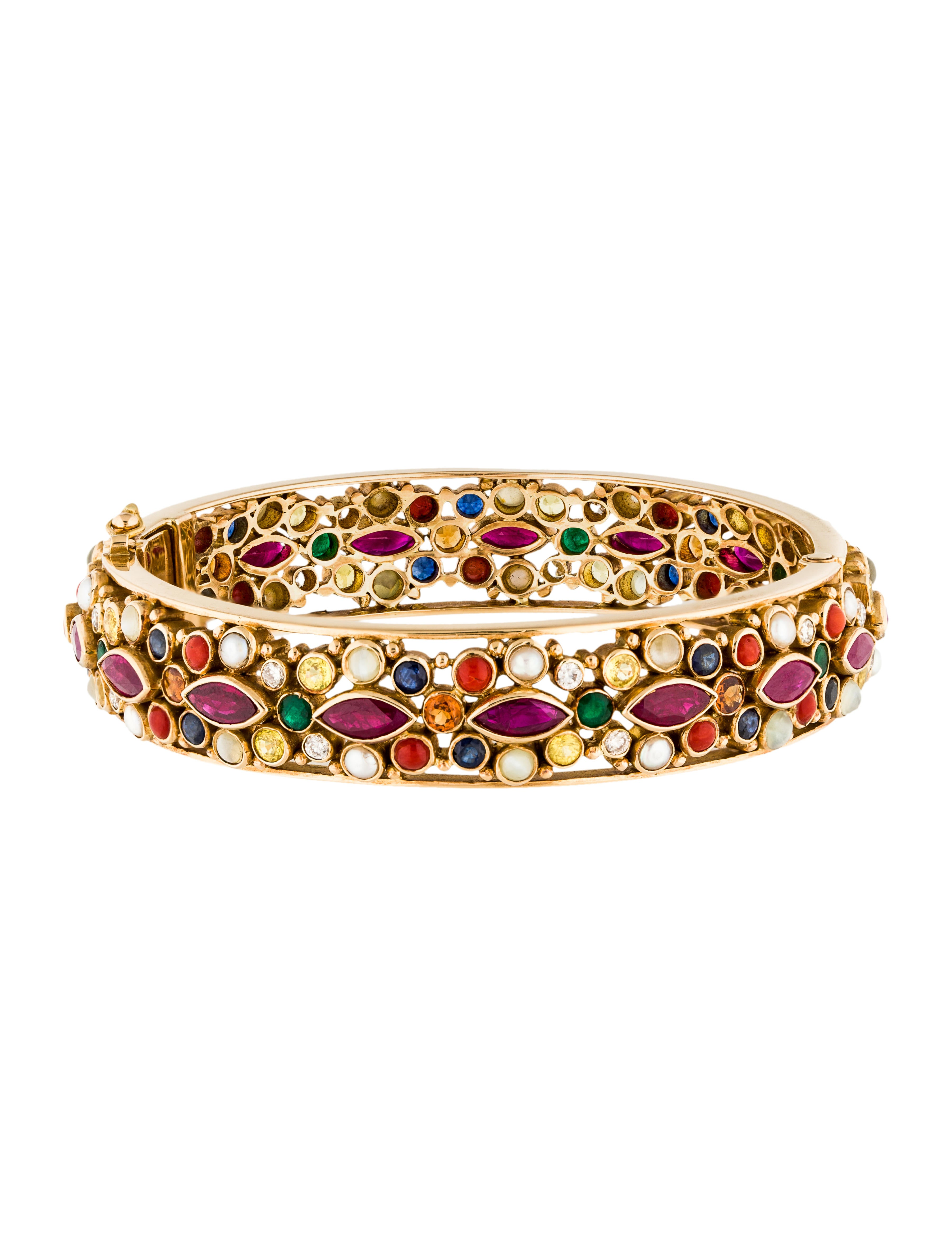 18k Pearl Ruby Diamond Multistone Bangle Bracelet