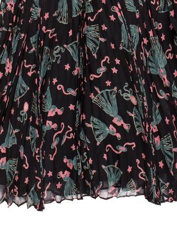 Pleated Silk Mini Skirt