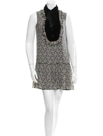 Silk Floral Print Drop-Waist Dress