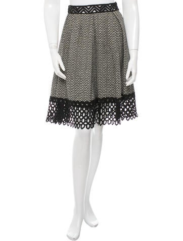 Anna Sui Lace-Accented Knee-Length Skirt