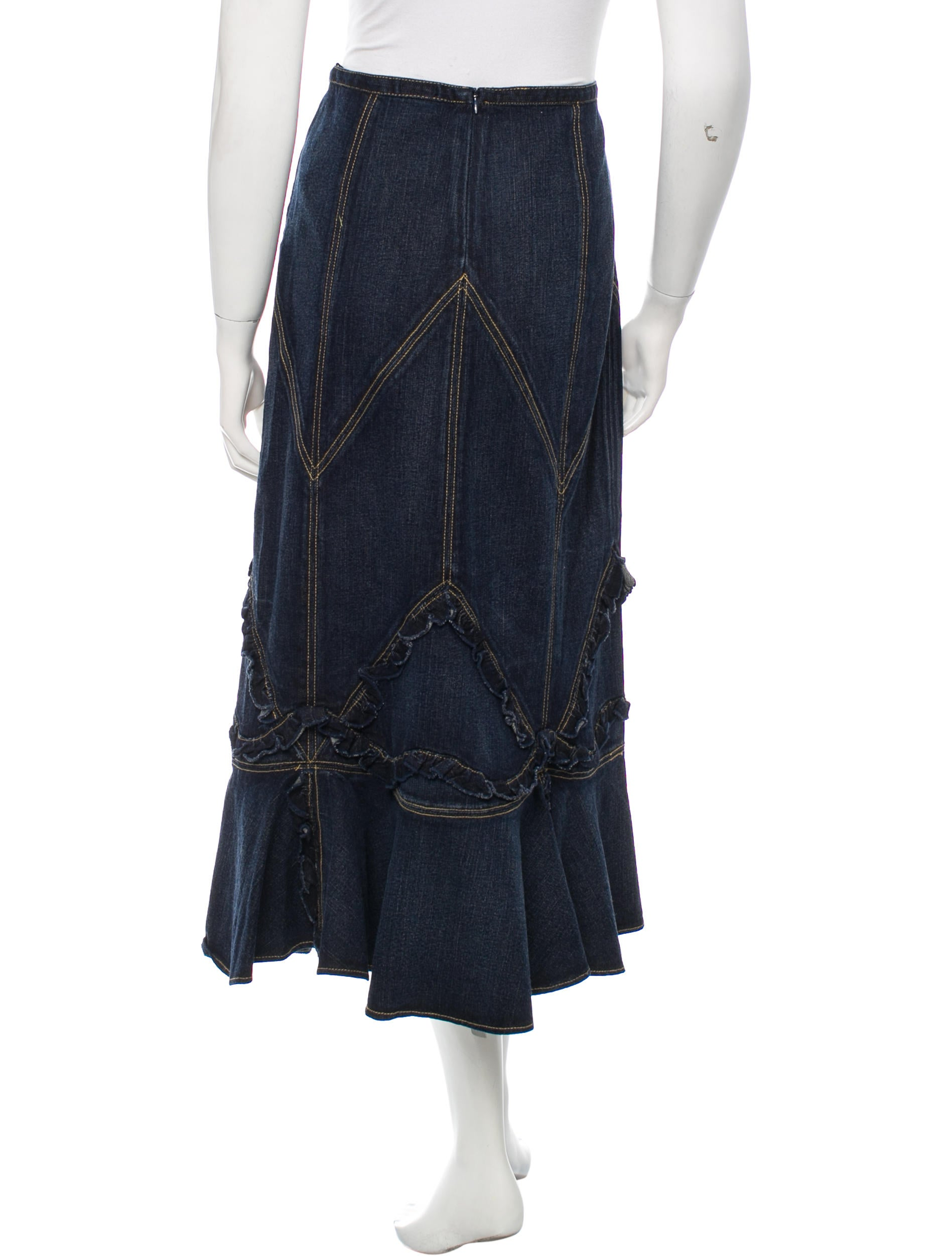 sui ruffle accented denim skirt w tags clothing