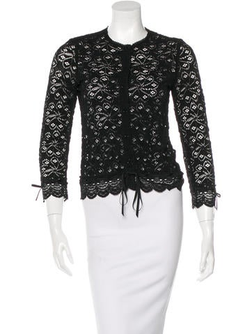 Anna Sui Lace Rib Knit Cardigan None