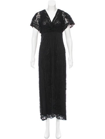 Anna Sui Embroidered Maxi Dress None